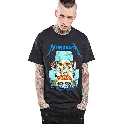 Vintage Skull Band Print Cool T Shirt Designs