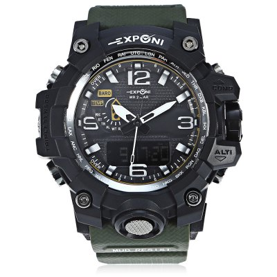 EXPONI 3239 Backlight Digital Quartz WatchSports Watches<br>EXPONI 3239 Backlight Digital Quartz Watch<br><br>Available Color: Black,Blue,Green,Red,Yellow<br>Band material: Rubber<br>Band size: 26.50 x 3.00 cm / 10.43 x 1.18 inches<br>Brand: EXPONI<br>Case material: Rubber<br>Clasp type: Pin buckle<br>Dial size: 5.20 x 5.20 x 1.70 cm / 2.05 x 2.05 x 0.67 inches<br>Display type: Analog-Digital<br>Movement type: Quartz + digital watch<br>Package Contents: 1 x EXPONI 3239 Digital Quartz Watch<br>Package size (L x W x H): 9.00 x 6.00 x 7.00 cm / 3.54 x 2.36 x 2.76 inches<br>Package weight: 0.1600 kg<br>People: Female table,Male table<br>Product size (L x W x H): 26.50 x 5.20 x 1.70 cm / 10.43 x 2.05 x 0.67 inches<br>Product weight: 0.0600 kg<br>Shape of the dial: Round<br>Watch style: Outdoor Sports<br>Water resistance: 30 meters<br>Wearable length: 15.00 - 23.00 cm / 5.90 - 9.05 inches
