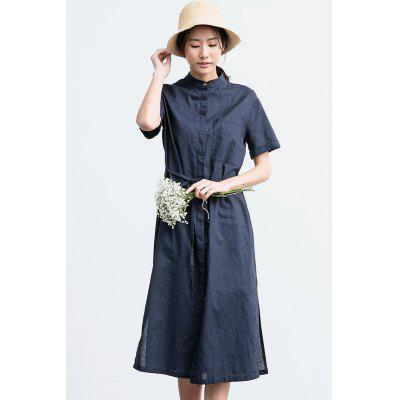 ZIMO Short Sleeve Button Shirt Dress