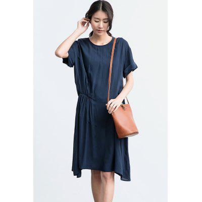 ZIMO Cuello Cuello Side Wrinkle Asymmetrical Dress