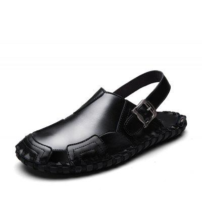 Handmade Pin Buckle Men Leather Sandals