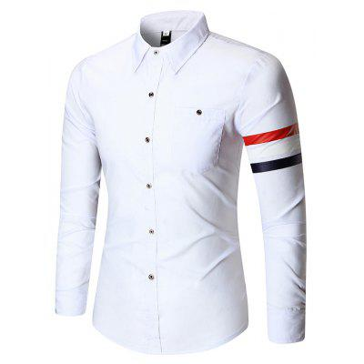 Turndown Collar Pure Color Braid Embroidered Shirt