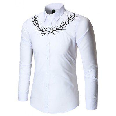 Long Sleeve Plain Embroidered Shirt