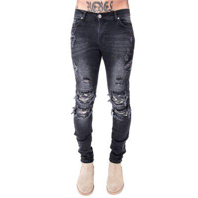 Men Slim Fit Biker Jeans Straight-leg Style