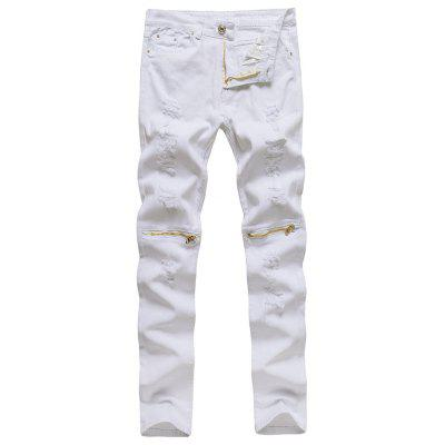 Men Slim Jeans with Knee Zip