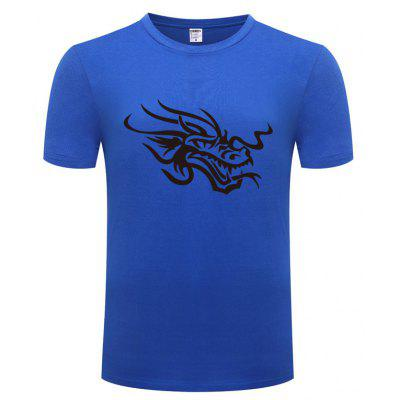 Casual T Shirt with Chinese Dragon Pattern for Men