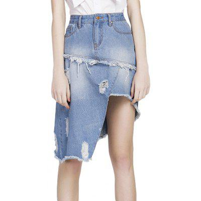 GENPRIOR Asymmetric Distressed Jean Skirt