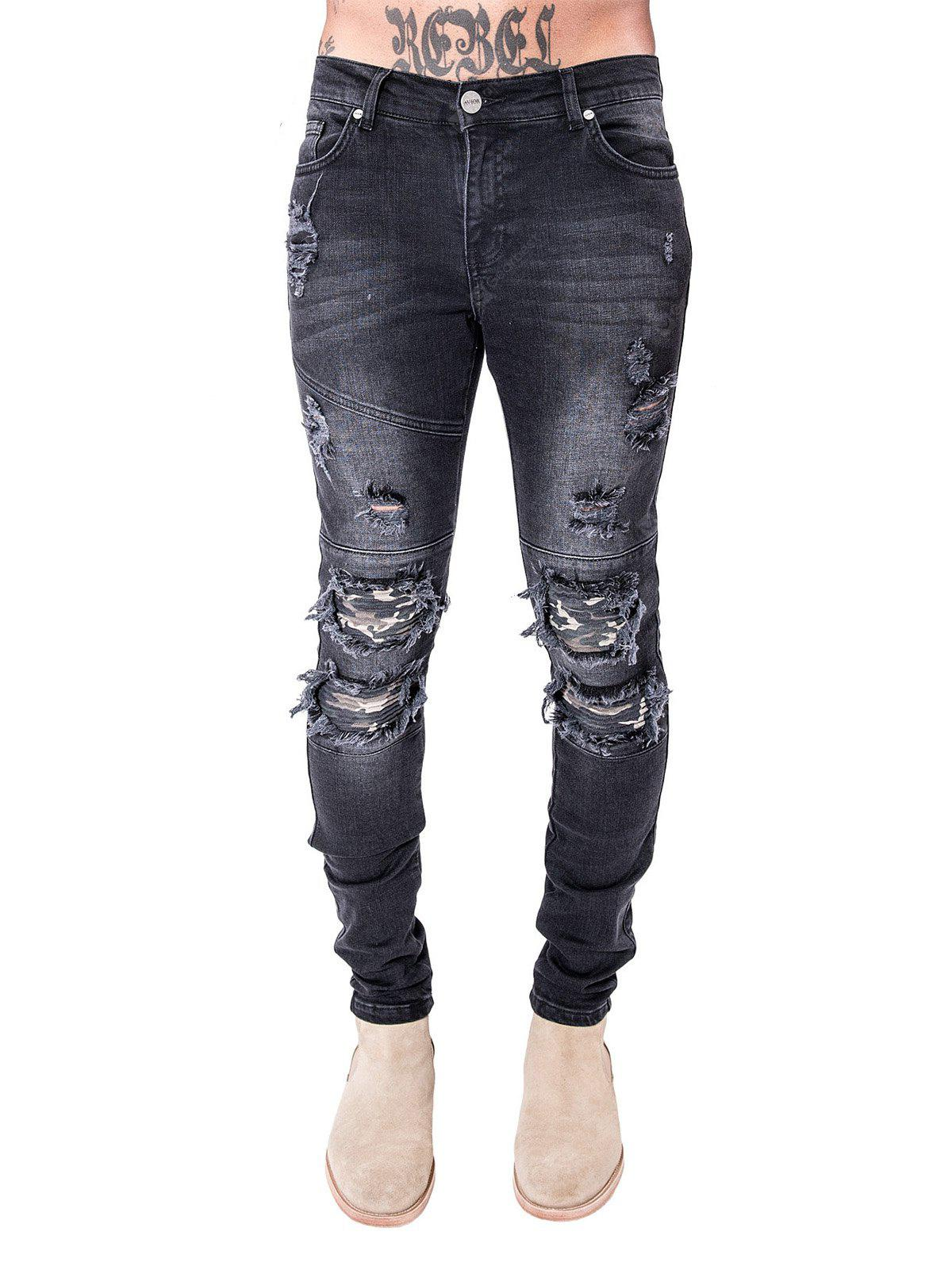 Homens Slim Fit Biker Jeans Straight-leg Style