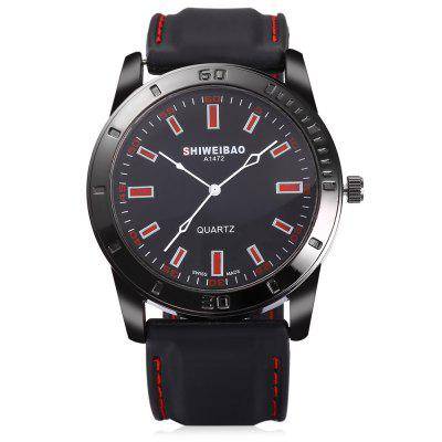 SHIWEIBAO A1472 Quartz Watch for MenMens Watches<br>SHIWEIBAO A1472 Quartz Watch for Men<br><br>Available Color: Gray,Green,Orange,Red<br>Band material: Silicone<br>Band size: 26.00 x 3.00 cm / 10.24 x 1.18 inches<br>Brand: Shiweibao<br>Case material: Alloy<br>Clasp type: Pin buckle<br>Dial size: 4.58 x 4.58 x 1.23 cm / 1.80 x 1.80 x 0.48 inches<br>Display type: Analog<br>Movement type: Quartz watch<br>Package Contents: 1 x SHIWEIBAO A1472 Male Watch with Box<br>Package size (L x W x H): 10.30 x 7.85 x 7.34 cm / 4.06 x 3.09 x 2.89 inches<br>Package weight: 0.1800 kg<br>Product size (L x W x H): 26.00 x 4.58 x 1.23 cm / 10.24 x 1.8 x 0.48 inches<br>Product weight: 0.0780 kg<br>Shape of the dial: Round<br>Watch style: Casual<br>Watches categories: Male table<br>Wearable length: 17.00 - 22.00 cm / 6.69 - 8.66 inches