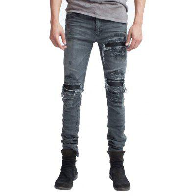Men Skinny Jeans Biker Style with Rips Bleach
