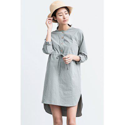 ZIMO Adjustable Strap Long Sleeve Asymmetry Dress