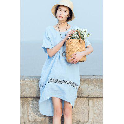ZIMO Short Sleeve Hollow Out Loose Dress