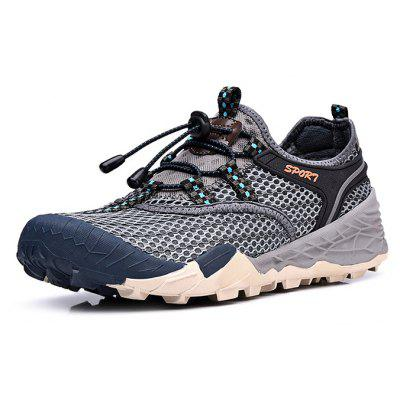 Buy GRAY Air Mesh Drawstring Men Hiking Shoes for $30.11 in GearBest store
