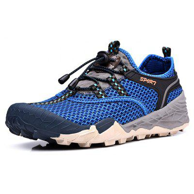 Buy BLUE Air Mesh Drawstring Men Hiking Shoes for $40.20 in GearBest store