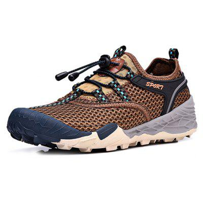 Buy BROWN Air Mesh Drawstring Men Hiking Shoes for $40.20 in GearBest store