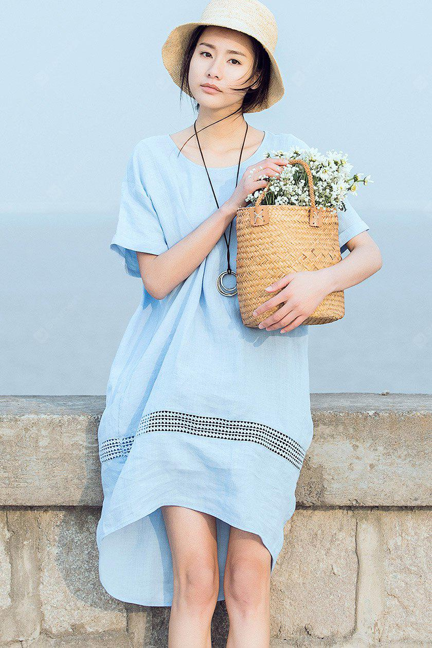 LIGHT BLUE L ZIMO Short Sleeve Hollow Out Loose Dress