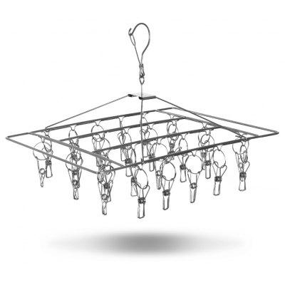 Stainless Steel Laundry Clothes Drying Rack Hanger with 26 Clips