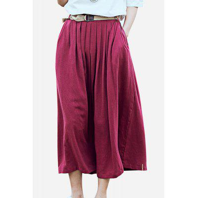 ZIMO Pleated Belted Waist Long Skirt with Pocket