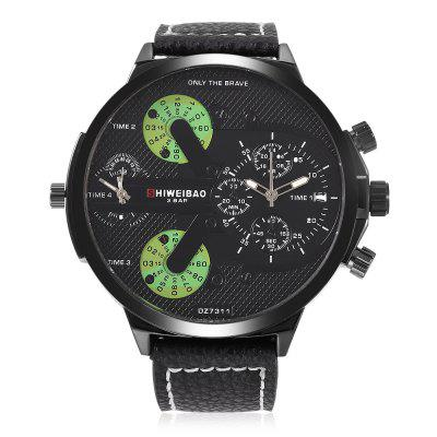 SHI WEI BAO A6132 Male Dual Quartz WatchMens Watches<br>SHI WEI BAO A6132 Male Dual Quartz Watch<br><br>Band material: Leather<br>Band size: 28 x 2.20cm / 11.02 x 0.87 inches<br>Brand: Shiweibao<br>Case material: Alloy<br>Clasp type: Pin buckle<br>Dial size: 5.50 x 5.50 x 1.3cm / 2.17 x 2.17 x 0.51 inches<br>Display type: Analog<br>Movement type: Double-movtz<br>Package Contents: 1 x SHI WEI BAO A6132 Men Quartz Watch<br>Package size (L x W x H): 10.00 x 8.00 x 7.50 cm / 3.94 x 3.15 x 2.95 inches<br>Package weight: 0.1760 kg<br>Product size (L x W x H): 28.00 x 5.50 x 1.30 cm / 11.02 x 2.17 x 0.51 inches<br>Product weight: 0.0750 kg<br>Shape of the dial: Round<br>Special features: Multi Time Zones, Date<br>Watch color: Black, Green, Cerulean, Deep Brown, Brown<br>Watch mirror: Mineral glass<br>Watch style: Casual, Trends in outdoor sports<br>Watches categories: Male table<br>Water resistance: 30 meters<br>Wearable length: 19.00 - 25.00cm / 7.48 - 9.84 inches