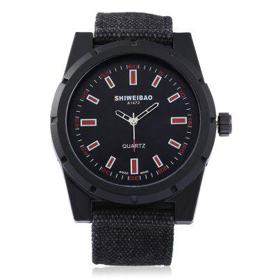 SHI WEI BAO A1472 Men Quartz Canvas Band WatchMens Watches<br>SHI WEI BAO A1472 Men Quartz Canvas Band Watch<br><br>Band material: Canvas<br>Band size: 26 x 2.40cm / 10.24 x 0.94 inches<br>Brand: Shiweibao<br>Case material: Alloy<br>Clasp type: Pin buckle<br>Dial size: 4.9 x 4.9 x 1.2cm / 1.93 x 1.93 x 0.47 inches<br>Display type: Analog<br>Movement type: Quartz watch<br>Package Contents: 1 x SHI WEI BAO Men Quartz Watch<br>Package size (L x W x H): 10.30 x 7.85 x 7.34 cm / 4.06 x 3.09 x 2.89 inches<br>Package weight: 0.1710 kg<br>Product size (L x W x H): 26.00 x 4.90 x 1.20 cm / 10.24 x 1.93 x 0.47 inches<br>Product weight: 0.0690 kg<br>Shape of the dial: Round<br>Watch color: White, Red, Orange, Green<br>Watch mirror: Mineral glass<br>Watch style: Fashion, Business<br>Watches categories: Male table<br>Water resistance: 30 meters<br>Wearable length: 19.00 - 23.00cm / 7.48 - 9.06 inches