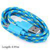 Fabric Braided Data Charging Cable - BLUE