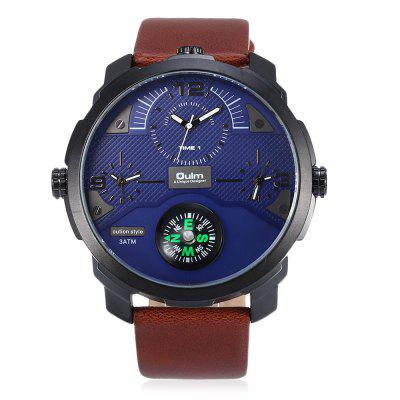 Oulm 3749 Male Sports Quartz WatchMens Watches<br>Oulm 3749 Male Sports Quartz Watch<br><br>Band material: PU Leather<br>Band size: 27 x 2.40cm / 10.16 x 0.94 inches<br>Brand: Oulm<br>Case material: Alloy<br>Clasp type: Pin buckle<br>Dial size: 5.50 x 5.50 x 1.6cm / 2.17 x 2.17 x 0.63 inches<br>Display type: Analog<br>Movement type: Multiple Movt<br>Package Contents: 1 x Oulm 3749 Men Watch<br>Package size (L x W x H): 28.00 x 6.50 x 2.60 cm / 11.02 x 2.56 x 1.02 inches<br>Package weight: 0.1320 kg<br>Product size (L x W x H): 27.00 x 5.50 x 1.60 cm / 10.63 x 2.17 x 0.63 inches<br>Product weight: 0.1010 kg<br>Shape of the dial: Round<br>Special features: Compass, Multi Time Zones<br>Watch color: White, Blue, Black, Black and Rose Gold<br>Watch mirror: Mineral glass<br>Watch style: Trends in outdoor sports<br>Watches categories: Male table<br>Water resistance: 30 meters<br>Wearable length: 20.00 - 25.00cm / 7.87 - 9.84 inches
