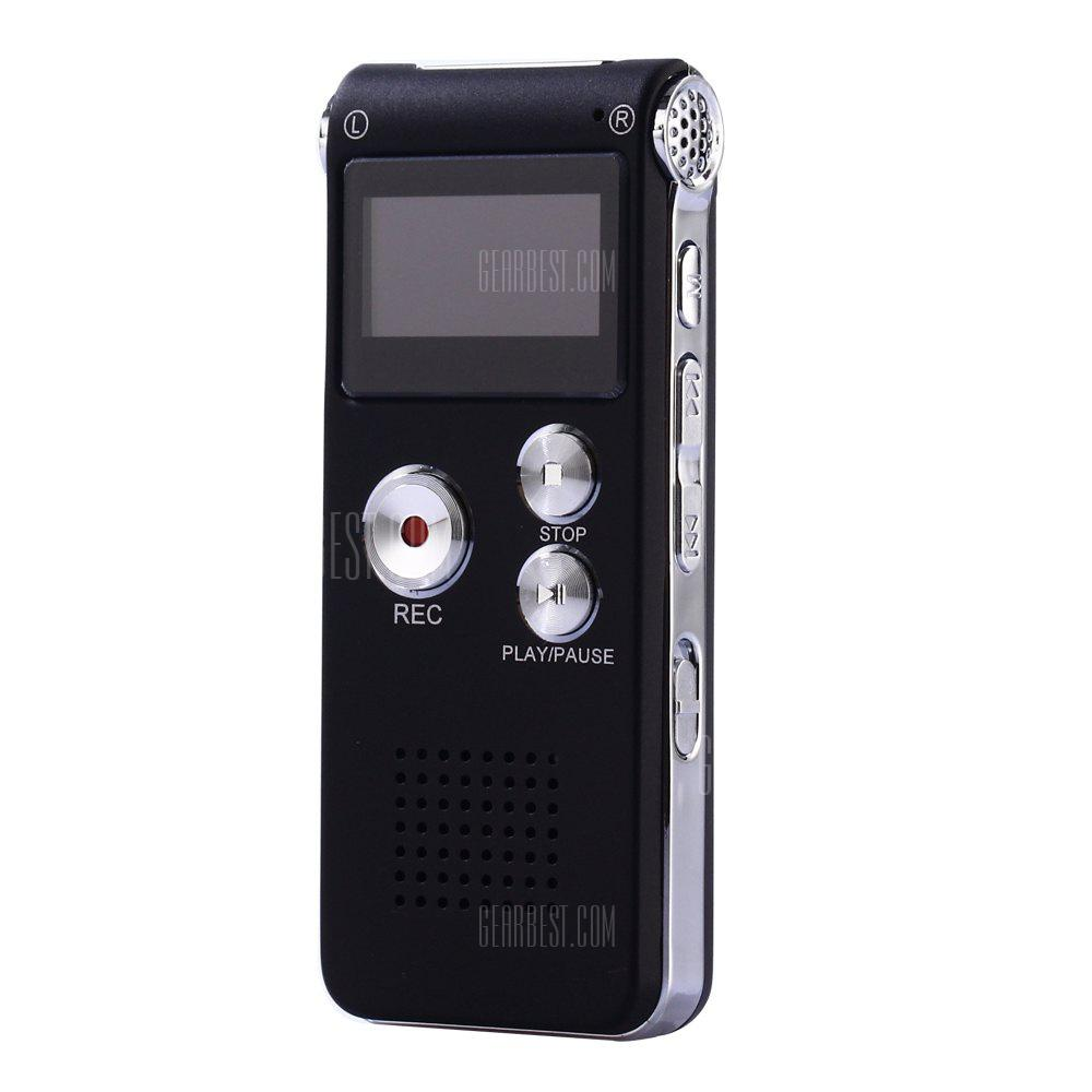 Professional 8GB GH609 Digital Voice Recorder with Time Display and Stereo Recording Function - Black