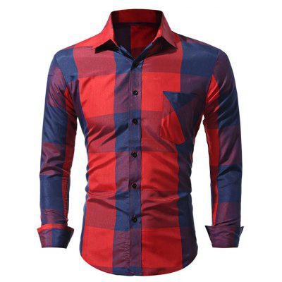 WSGYJ Big Plaid Men\'s Shirts with Front Pocket