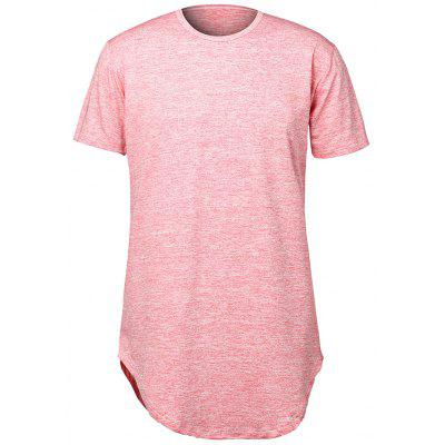Buy Pure Color Arc Hem Men's T Shirts, LIGHT PINK, S, Apparel, Men's Clothing, Men's T-shirts, Men's Short Sleeve Tees for $12.45 in GearBest store