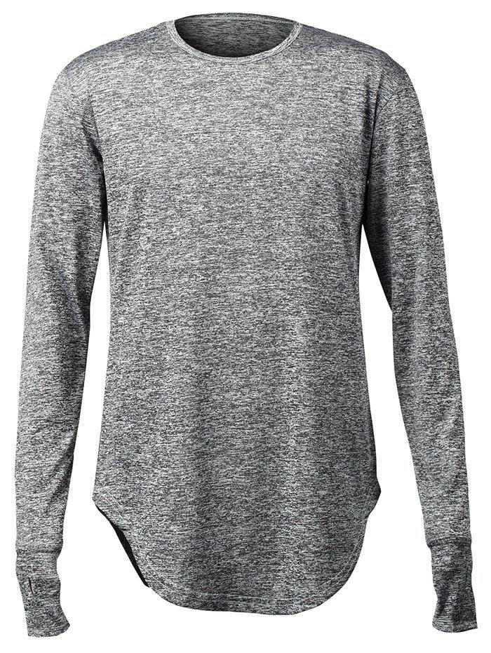 Arc Hem Long Sleeve Men's T Shirts with Hollow-out Thumb