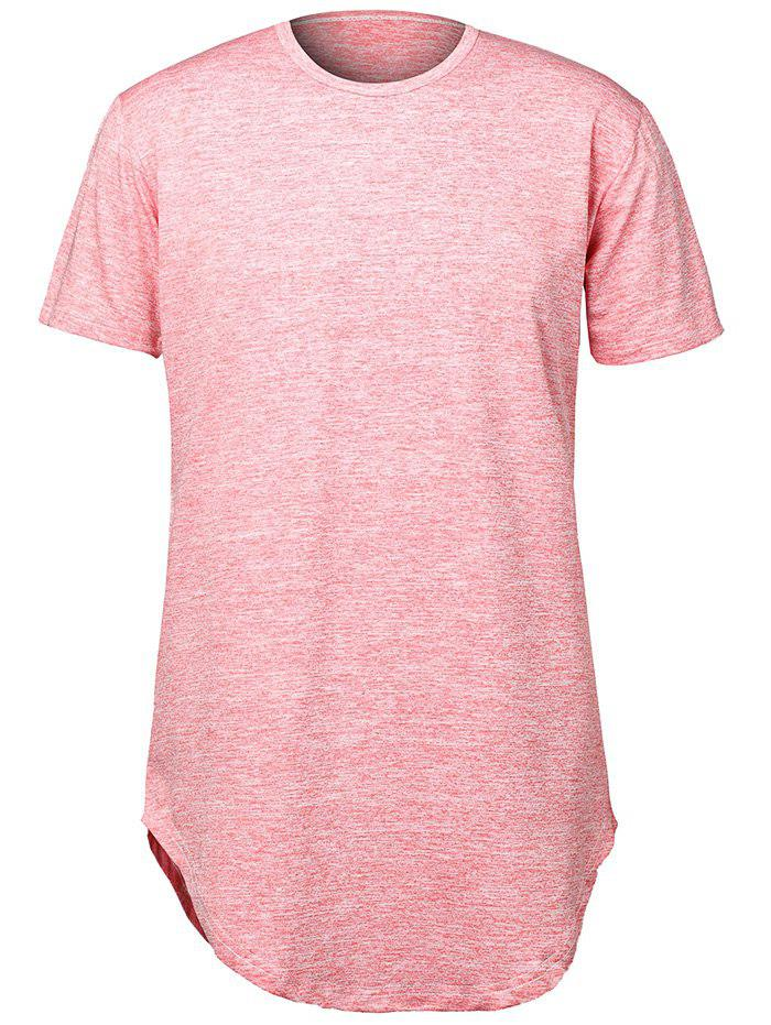 Pure Color Arc Hem Men's T Shirts