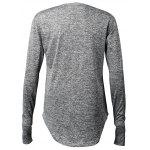 Arc Hem Long Sleeve Men's T Shirts with Hollow-out Thumb - DEEP GRAY