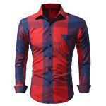 WSGYJ Big Plaid Men's Shirts with Front Pocket - RED