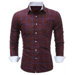 WSGYJ Slim Fit Men's Plaid Shirts with Front Pocket - WINE RED