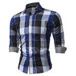 WSGYJ Slim Fit Plaid Shirts for Men - BLUE
