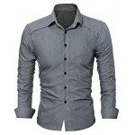 WSGYJ Plain Slim Fit Men's Shirts with Front Pocket - GRAY