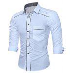 WSGYJ Plain Slim Fit Men's Shirts with Front Pocket - WHITE