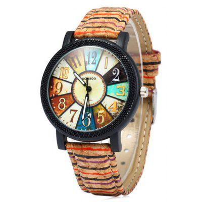 Sonsdo 6838 Unique Leather Strap Women Retro Quartz Watch