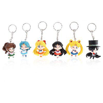 6pcs / set Alloy + PVC Key Chain Phone Wallet Décoration