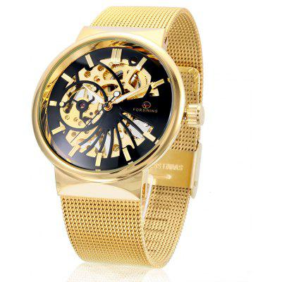 Buy BLACK AND GOLDEN Forsining F162 Men Auto Mechanical Watch for $24.43 in GearBest store