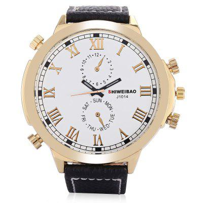 SHI WEI BAO A1052 Men Quartz WatchMens Watches<br>SHI WEI BAO A1052 Men Quartz Watch<br><br>Band material: Leather<br>Band size: 27.1 x 2.20cm / 10.67 x 0.87 inches<br>Case material: Alloy<br>Clasp type: Pin buckle<br>Dial size: 5.50 x 5.50 x 1.24cm / 2.17 x 2.17 x 0.49 inches<br>Display type: Analog<br>Movement type: Quartz watch<br>Package Contents: 1 x Watch<br>Package size (L x W x H): 10.30 x 7.85 x 7.34 cm / 4.06 x 3.09 x 2.89 inches<br>Package weight: 0.1800 kg<br>Product size (L x W x H): 27.10 x 5.50 x 1.24 cm / 10.67 x 2.17 x 0.49 inches<br>Product weight: 0.0800 kg<br>Shape of the dial: Round<br>Watch color: Black, Blue, White<br>Watch mirror: Mineral glass<br>Watch style: Fashion, Casual<br>Watches categories: Male table<br>Water resistance: 30 meters<br>Wearable length: 19.00 - 25.00cm / 7.48 - 9.84 inches