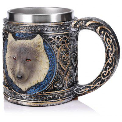 Wolf Style 3D Relief Mug Stainless Steel Cup