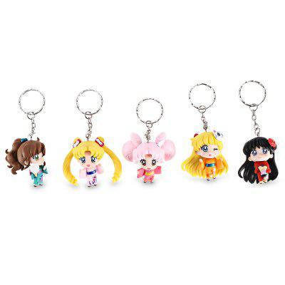 Anime Theme Alloy + PVC Key Chain - 5pcs / set