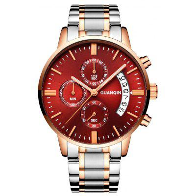 Buy GOLD AND RED GUANQIN GS19053 Men Quartz Watch for $34.64 in GearBest store