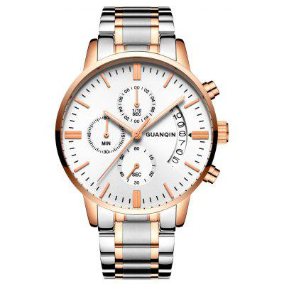 Buy GOLD AND WHITE GUANQIN GS19053 Men Quartz Watch for $18.73 in GearBest store
