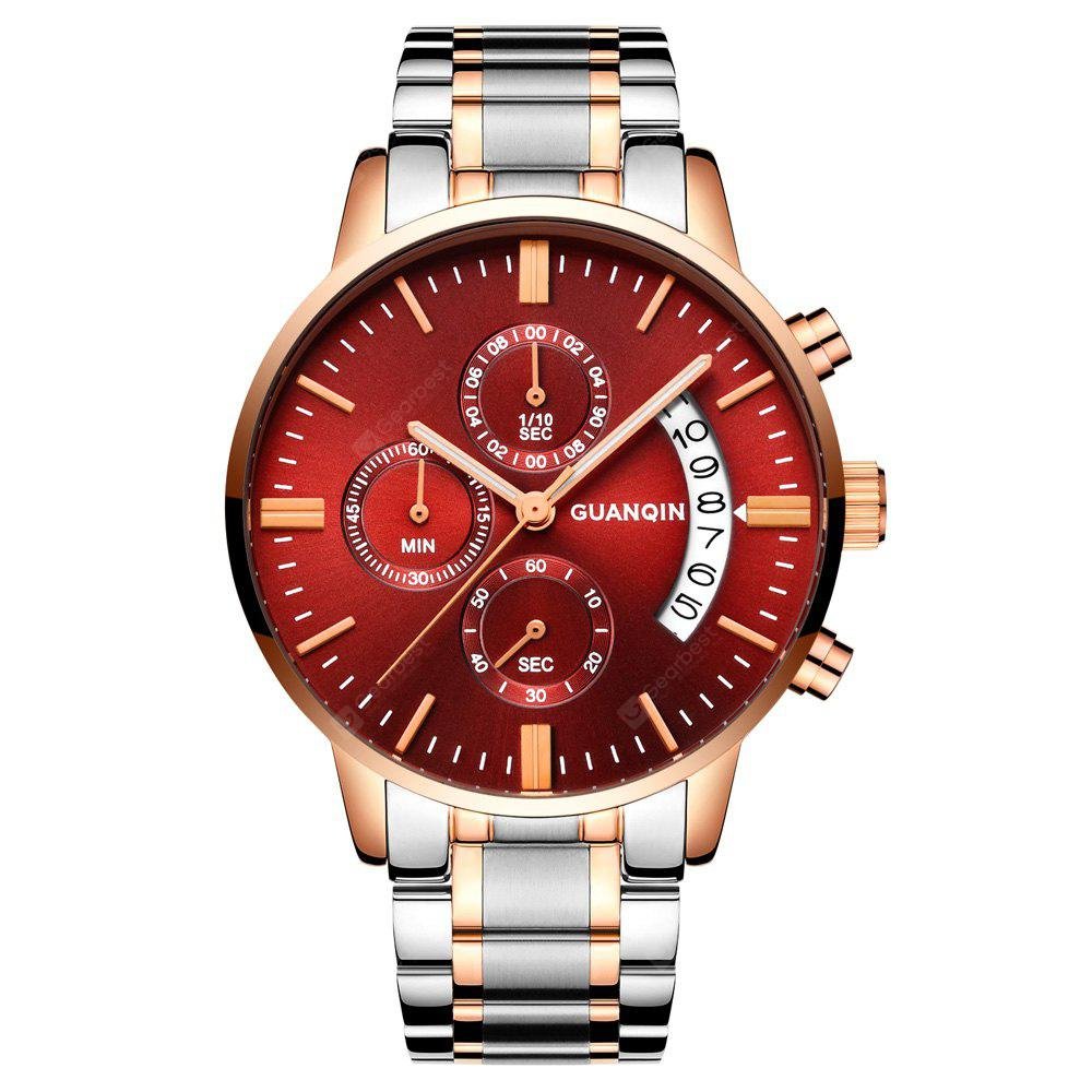 GUANQIN GS19053 Men Quartz Watch, GOLD AND RED, Watches & Jewelry, Men's Watches