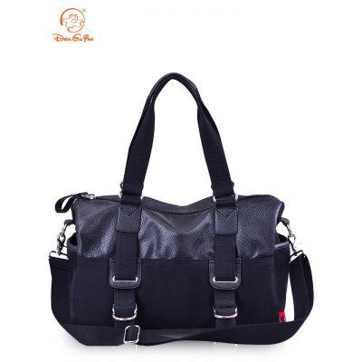 Douguyan PU Canvas Splicing Travel Bag