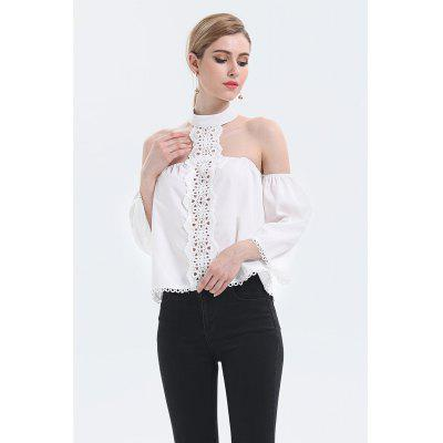 Lace Spliced Halter Off The Shoulder Chiffon Blouse