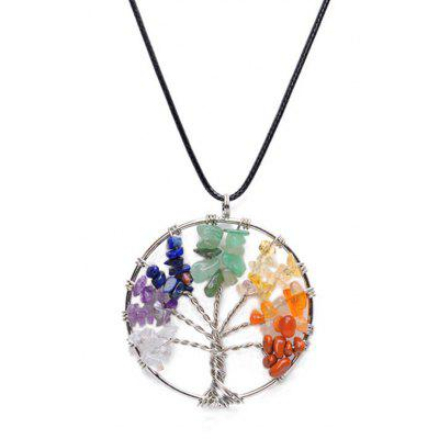 Buy COLORMIX Fashion Rainbow Stone Life Tree Necklace for Women for $3.00 in GearBest store