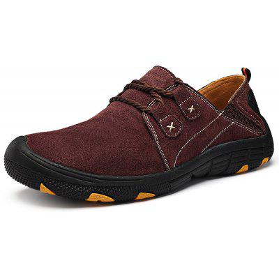 Buy WINE RED 38 Men Outdoor Lace Up Anti-slip Hiking Shoes for $27.78 in GearBest store